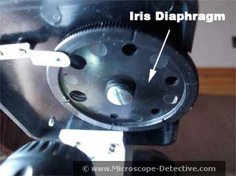 Parts of a compound microscope - iris diaphragm
